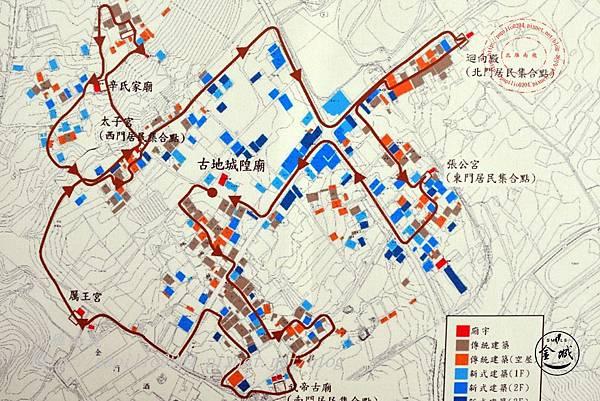15金門城明遺古街故事館祖廳說明面板-宮廟繞境路線圖