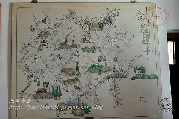 18金門城明遺古街故事館金門城的脈絡區展示面板-金門城導覽圖