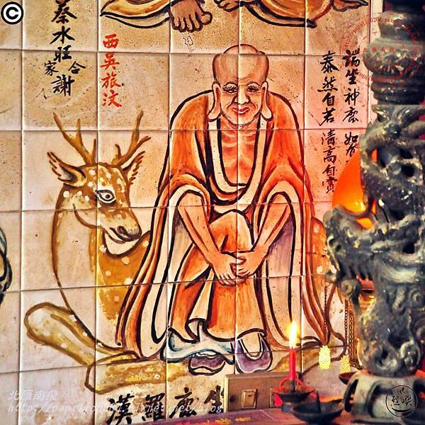 烈嶼西方釋迦佛祖玄天上帝宮十八羅漢彩繪壁畫 - 坐鹿羅漢