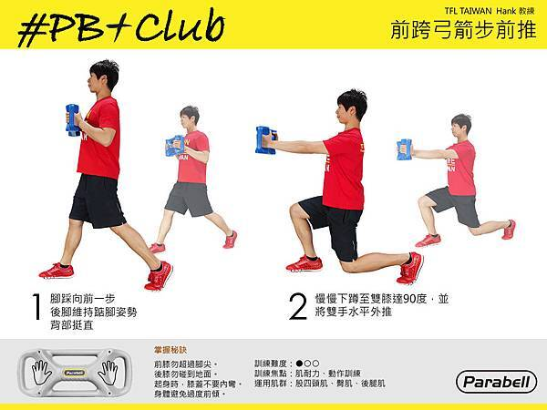 #10 平衡鈴前跨弓箭步前推_Parabell Forward Lunge with Push
