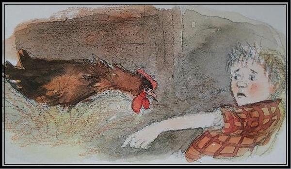 小男孩想撿雞蛋,卻被母雞制止!