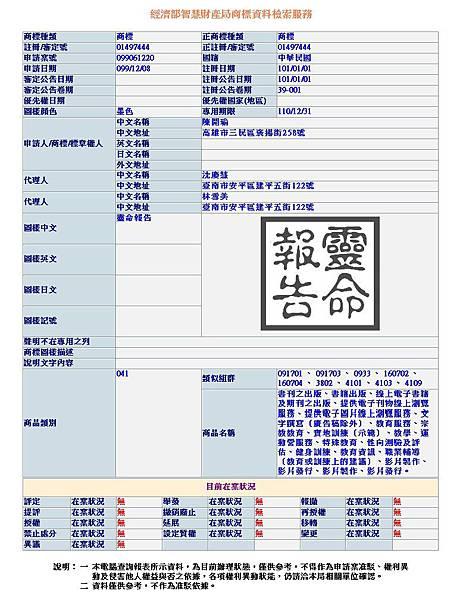 靈命報告041類商標資料101.01.01~110.12.31