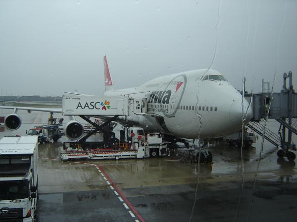這是我坐的飛機_西北航空NW70_這是在大阪機場拍的當時在下雨