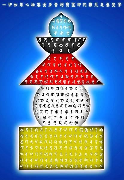 一切如來心祕密全身舍利寶篋印陀羅尼-悉曇梵文塔09.jpg