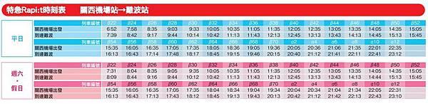 機場-難波時刻表