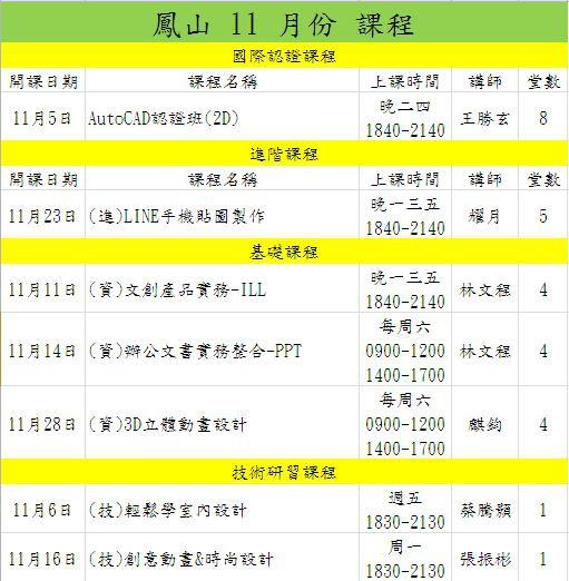 11月份課表