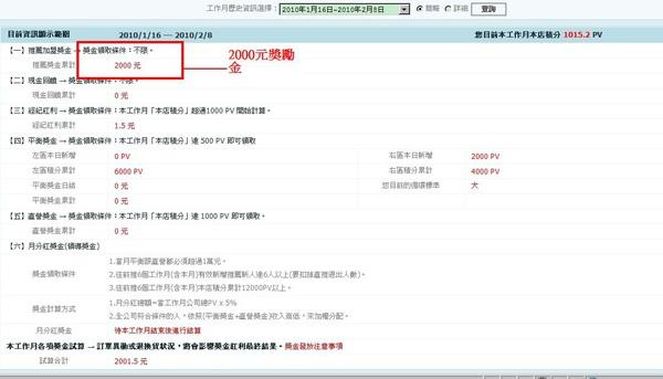 2010.02.09  三個禮拜 累積2個新下線 有2000元推薦獎金,外加1000 PV(晉升為大循環).JPG
