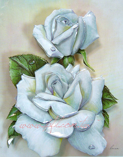 白玫瑰~歐風立體紙雕