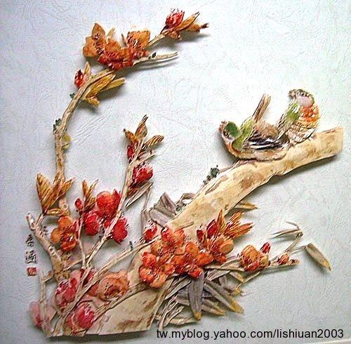 桃花鳥鳴~歐風立體紙雕作品