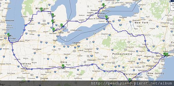 US Trip East Coast Map