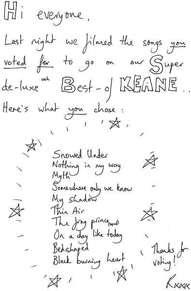 Keane-setlist