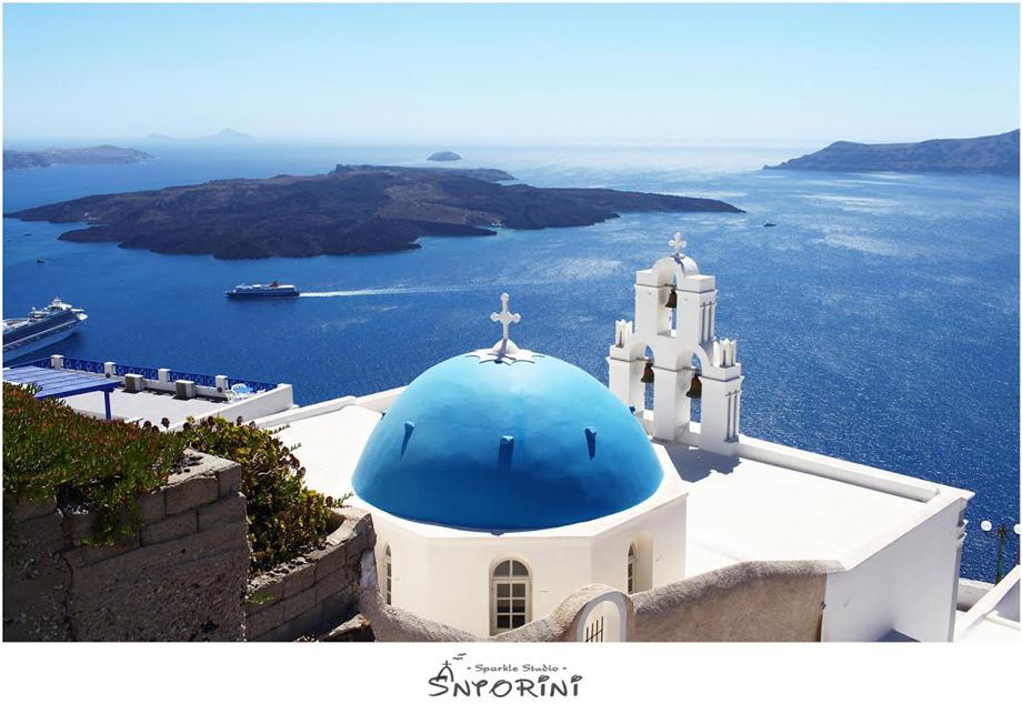 Santorini Fira 藍頂教堂