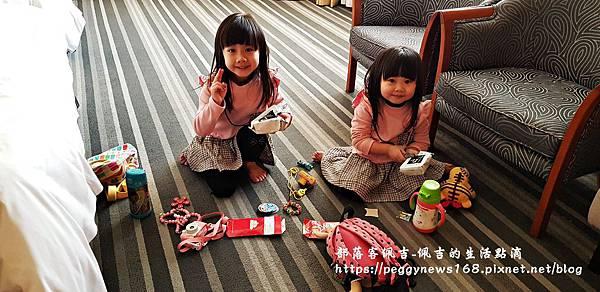 台中飯店推薦-全國大飯店-兩隻寶貝在房間.jpg