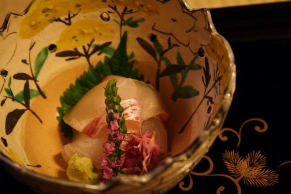 瓢亭 -- 向付之明石鯛