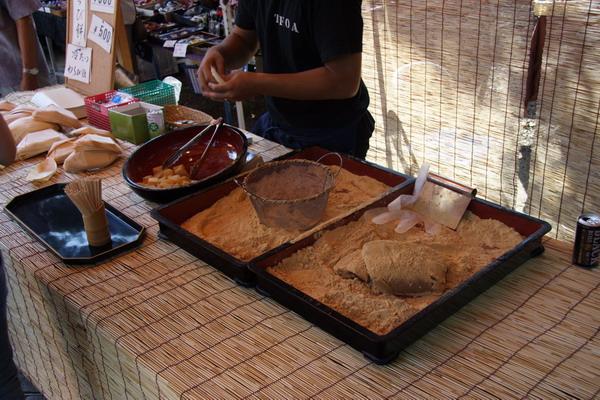 北野天滿宮廟前市集 -- 蕨粉糕的小攤子