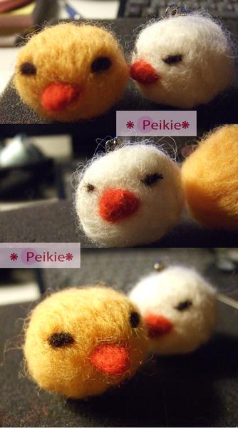 小雞情侶羊毛氈