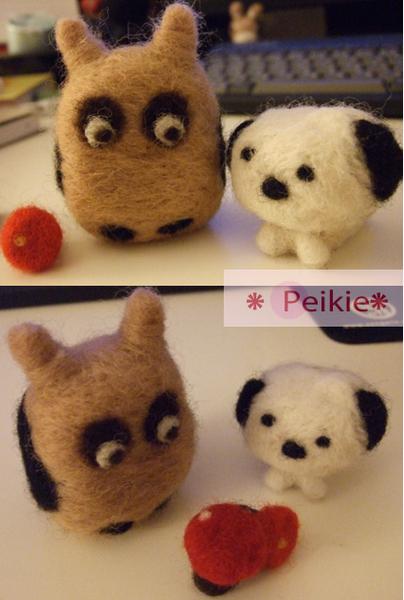羊毛氈--貓頭鷹與狗