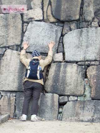 小蔚趴在大阪城的大石頭上,石頭真的好大