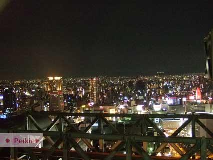 大阪-新梅田城的夜景,好冷,但是燈火比台灣的夜景數量更密集。