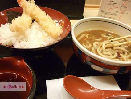 難波地下街的午餐-炸蝦丼與咖哩烏龍麵