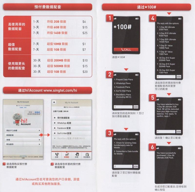 無限網路、行動網路:SingTel預付卡