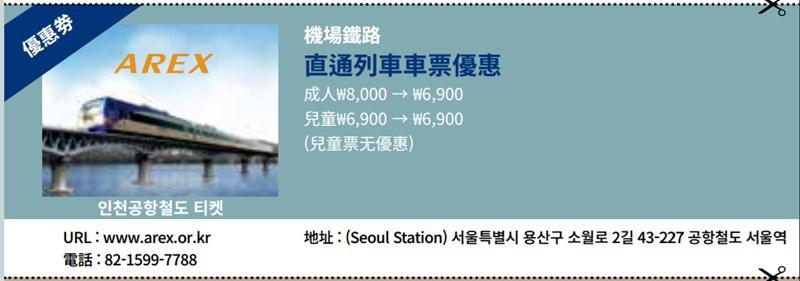 AREX折價券 AREX機場快線 韓國仁川機場 韓國金浦機場