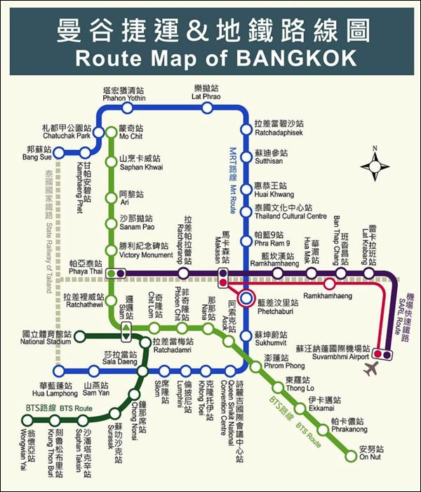 曼谷捷運圖.曼谷地鐵.曼谷交通.泰國BTS.泰國地鐵.泰國空鐵.泰國MRT.