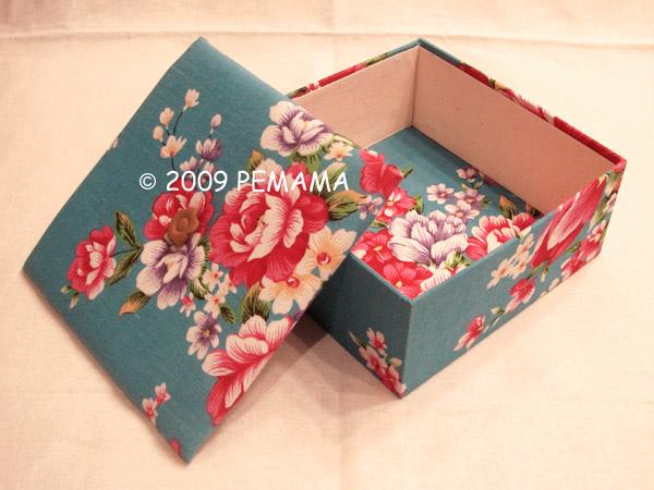客家花方布盒
