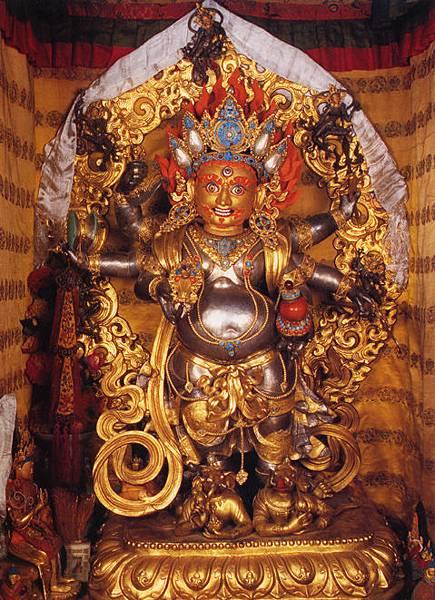 達賴喇嘛的六臂白瑪哈嘎啦佛像