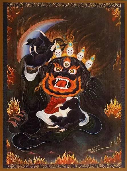 第10世大寶法王確映多傑所親繪大黑袍金剛.jpg