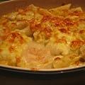 鮮蝦干貝焗管麵
