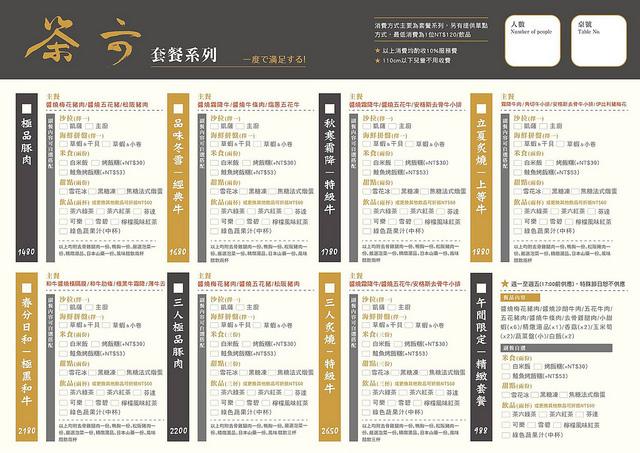 茶六燒肉堂菜單