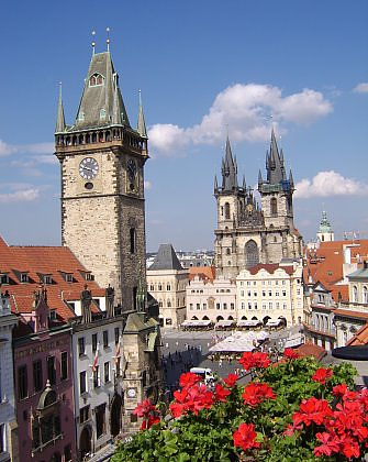 N-Old Town Square in Prague, Town Hall Tower & Astronomical Clock
