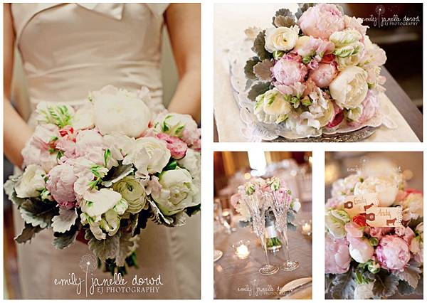 sweet pea floral design ann arbor weddin florist the university of michigan league pink peony holly rutt brides bouquet soft dusty miller
