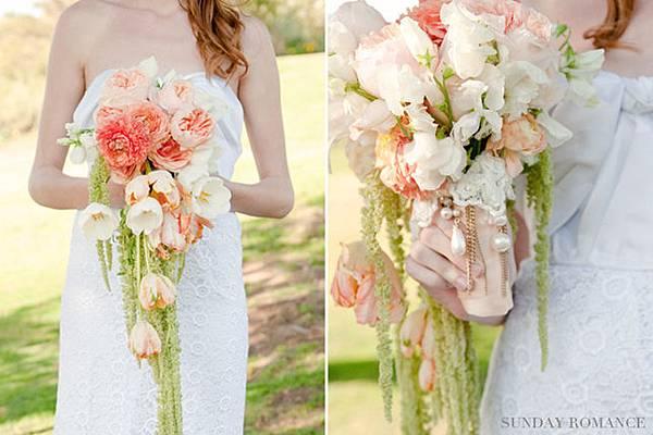 peach-vintage-cascading-bouquet