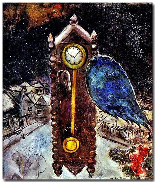 Marc Chagall - La pendule a l'aile bleue (夏卡爾 - 藍翼的時鐘) 1949.jpg