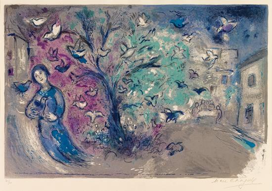 Marc Chagall - [Daphnis-and-Chloe] Chasse aux Oiseaux (夏卡爾 - [達夫尼與克羅伊]獵鳥.jpg