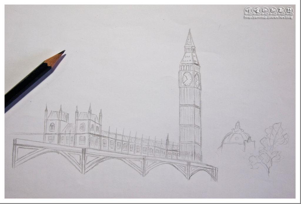 第一次的大笨鐘(Big Ben)手繪(素描鉛筆速寫版)