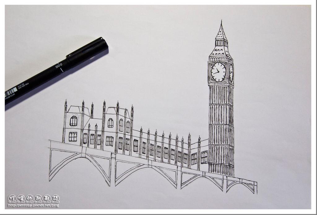 第二次的大笨鐘(Big Ben)手繪(帶針筆速寫版)