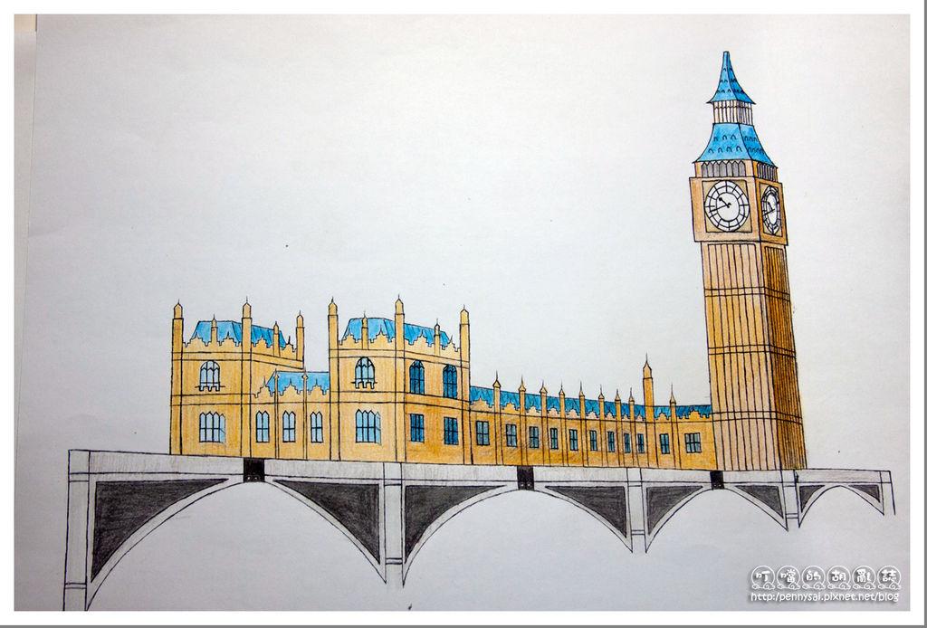 第三次的大笨鐘(Big Ben)手繪(色鉛筆上色)