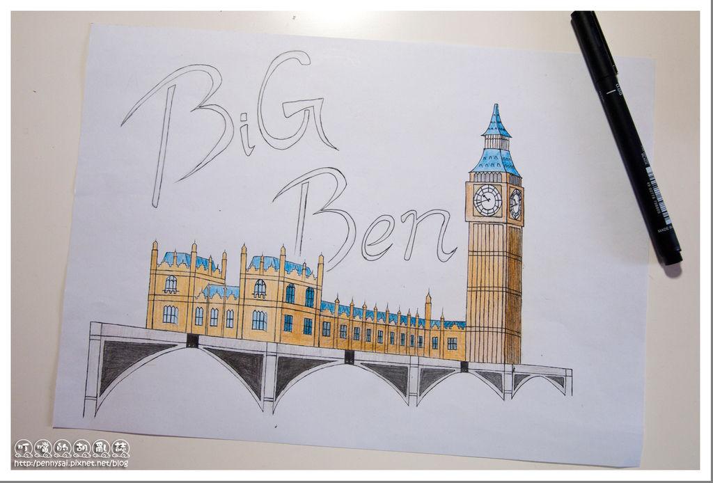 第三次的大笨鐘(Big Ben)手繪(設計字體)