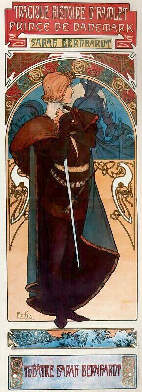 阿爾馮斯.慕夏(Alphonse Mucha) - 哈姆雷特海報(Tragique histoire D'hamlet )