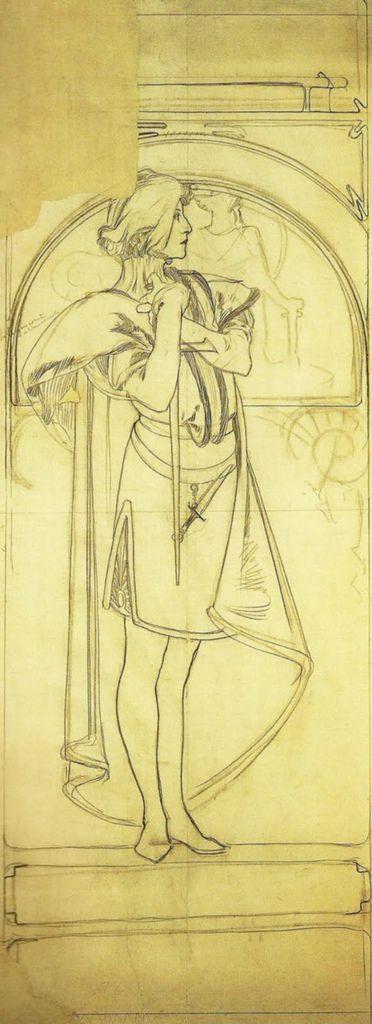阿爾馮斯.慕夏(Alphonse Mucha) - 哈姆雷特海報草稿(Cartoon for Hamlet)