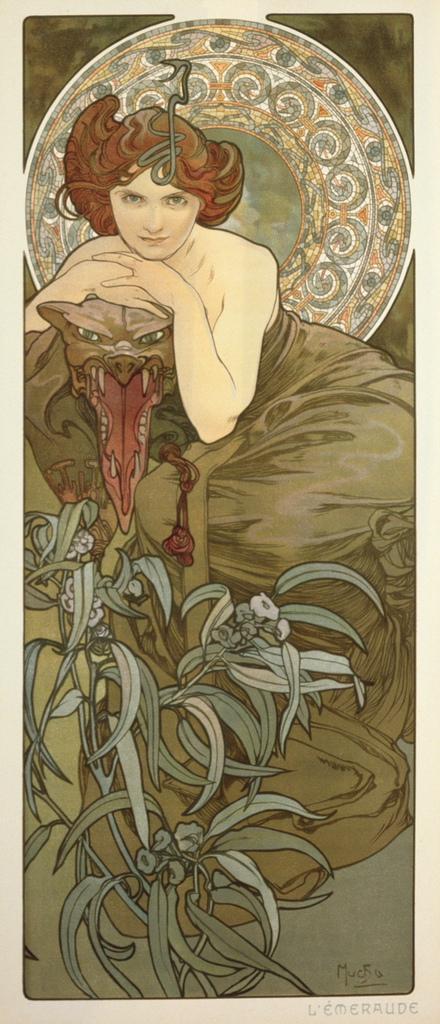 阿爾馮斯.慕夏(Alphonse Mucha) - 寶石系列.祖母綠.jpg