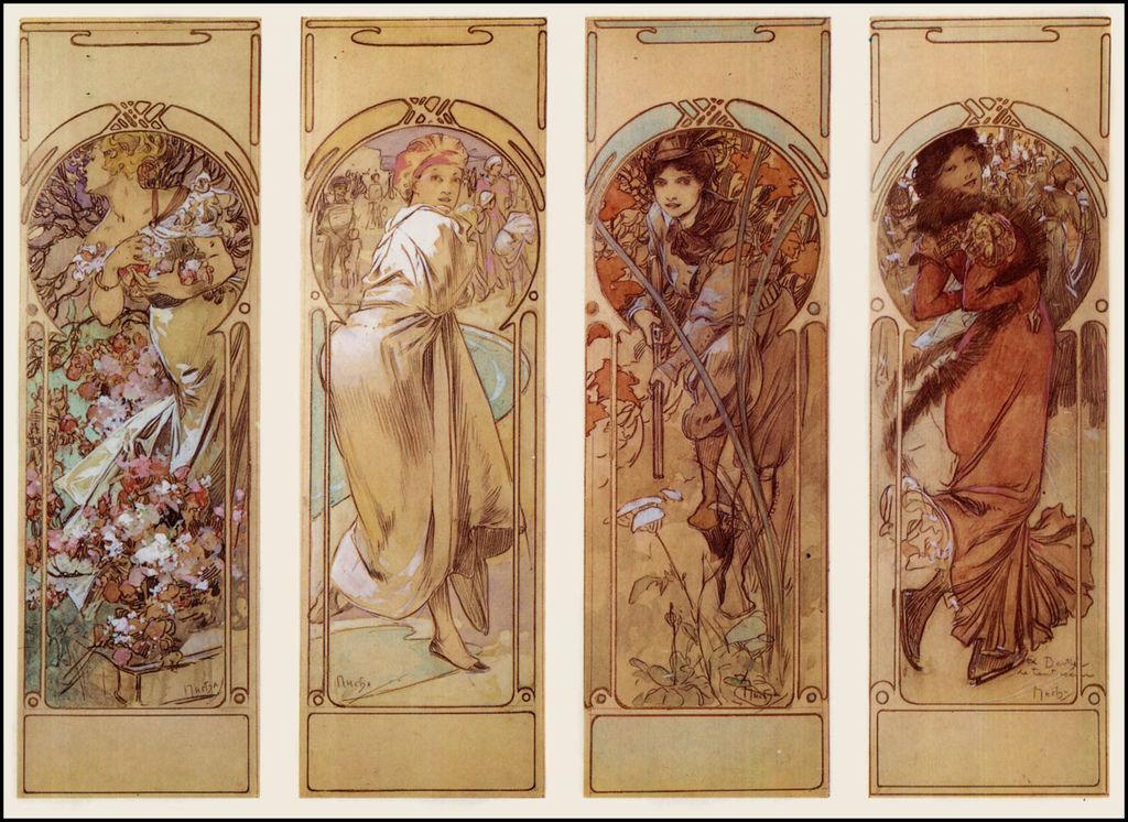 阿爾馮斯.慕夏(Alphonse Mucha) - 另一版本的四季(草稿?)