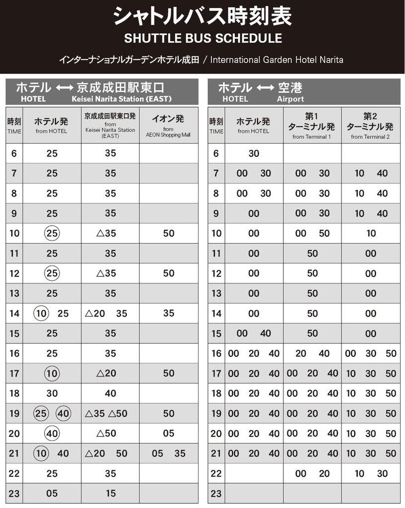 8.成田花園飯店、成田機場接駁時間表