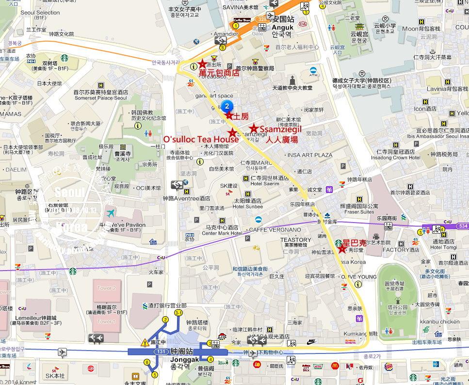 仁寺洞逛街路線圖