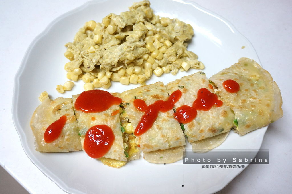 6.水果牛奶玉米蛋餅+水果玉米炒蛋