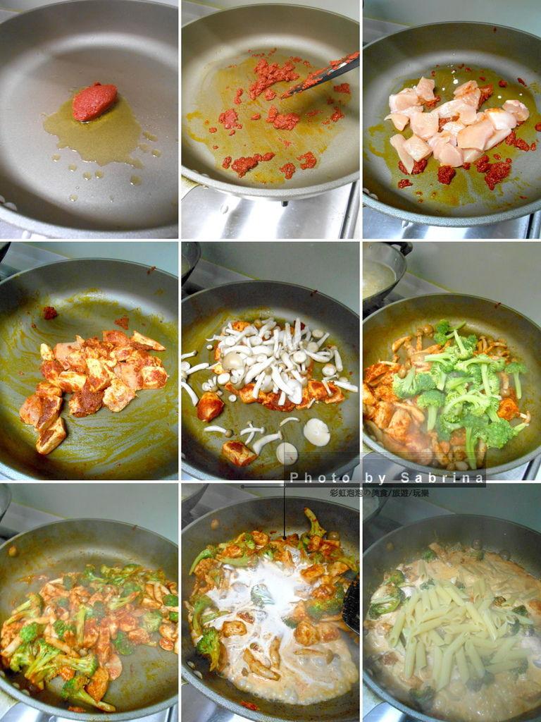 3.泰式紅醬雞肉義大利麵製作方法