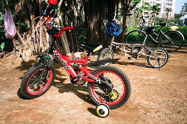 公園內小朋友的腳踏車